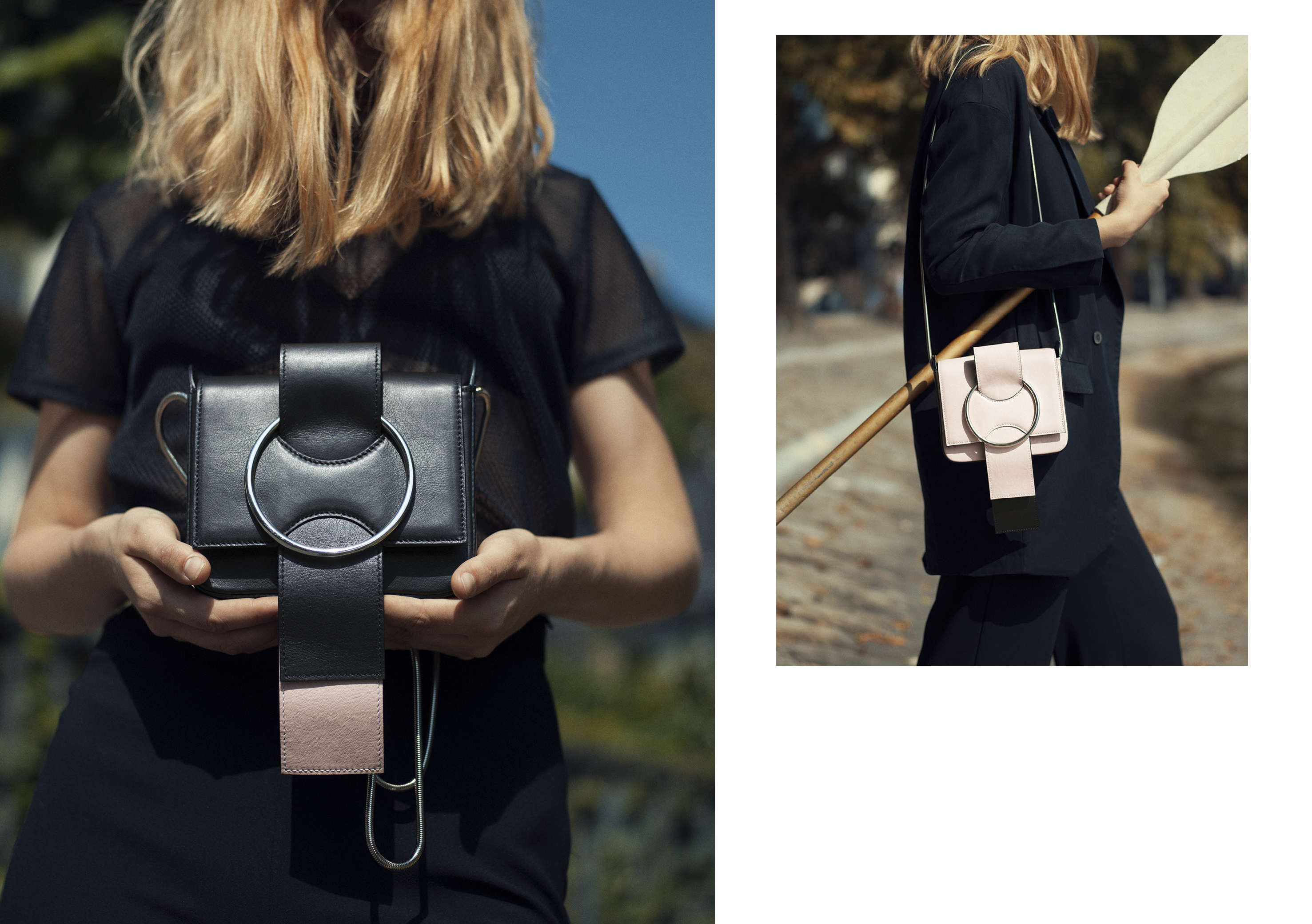 OTTONEmilano, bag, handbag, ss18, Kyra,leather,mini,shoulder bag,black,pink,oversize ring,strap,bow,ribbon,women,minimal