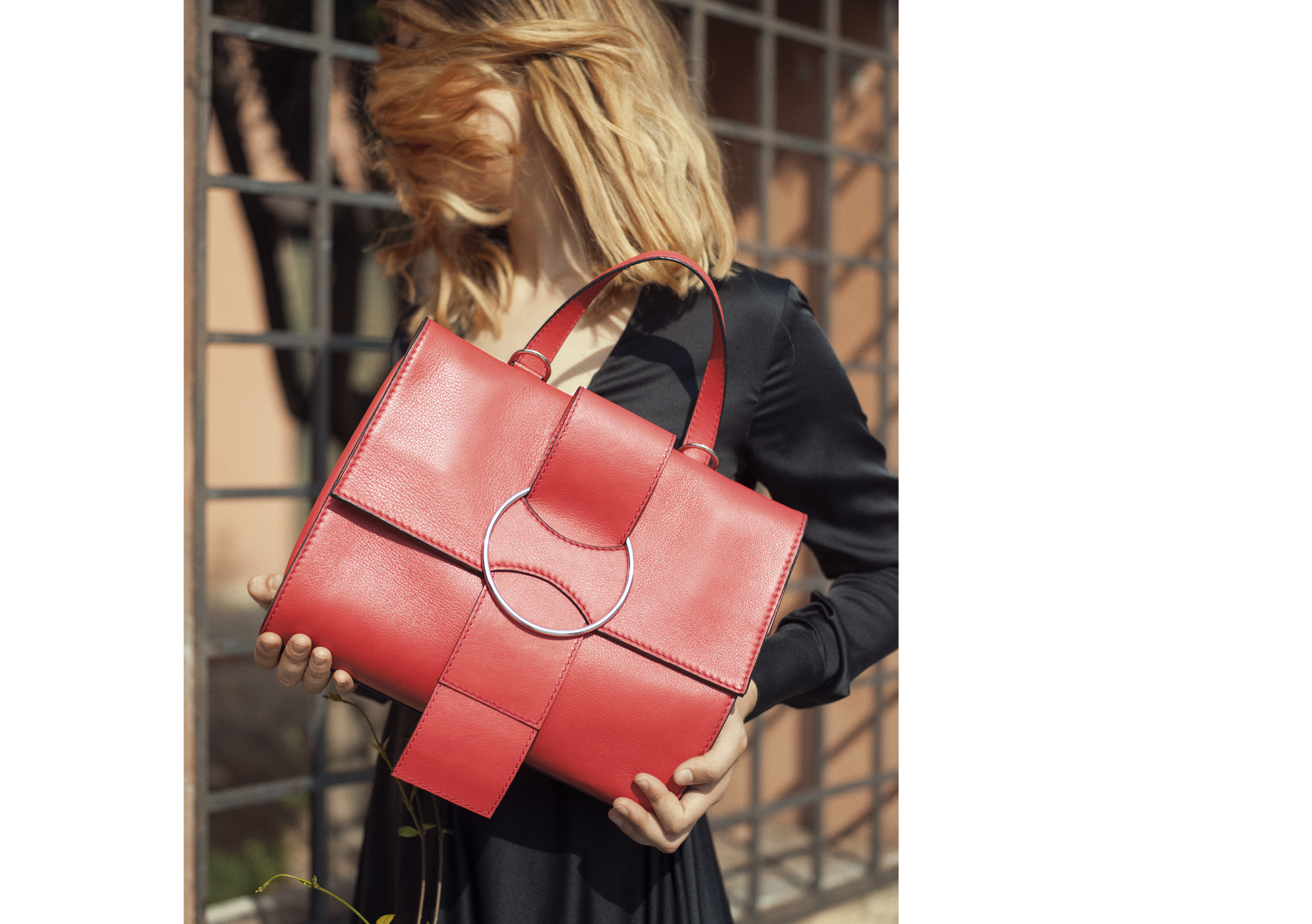 OTTONEmilano, bag, handbag, ss18, Karren,leather,made in italy,24h,shoulder bag,totebag,shopping, top handle, black,red,oversize ring,strap,bow,ribbon,women,minimal