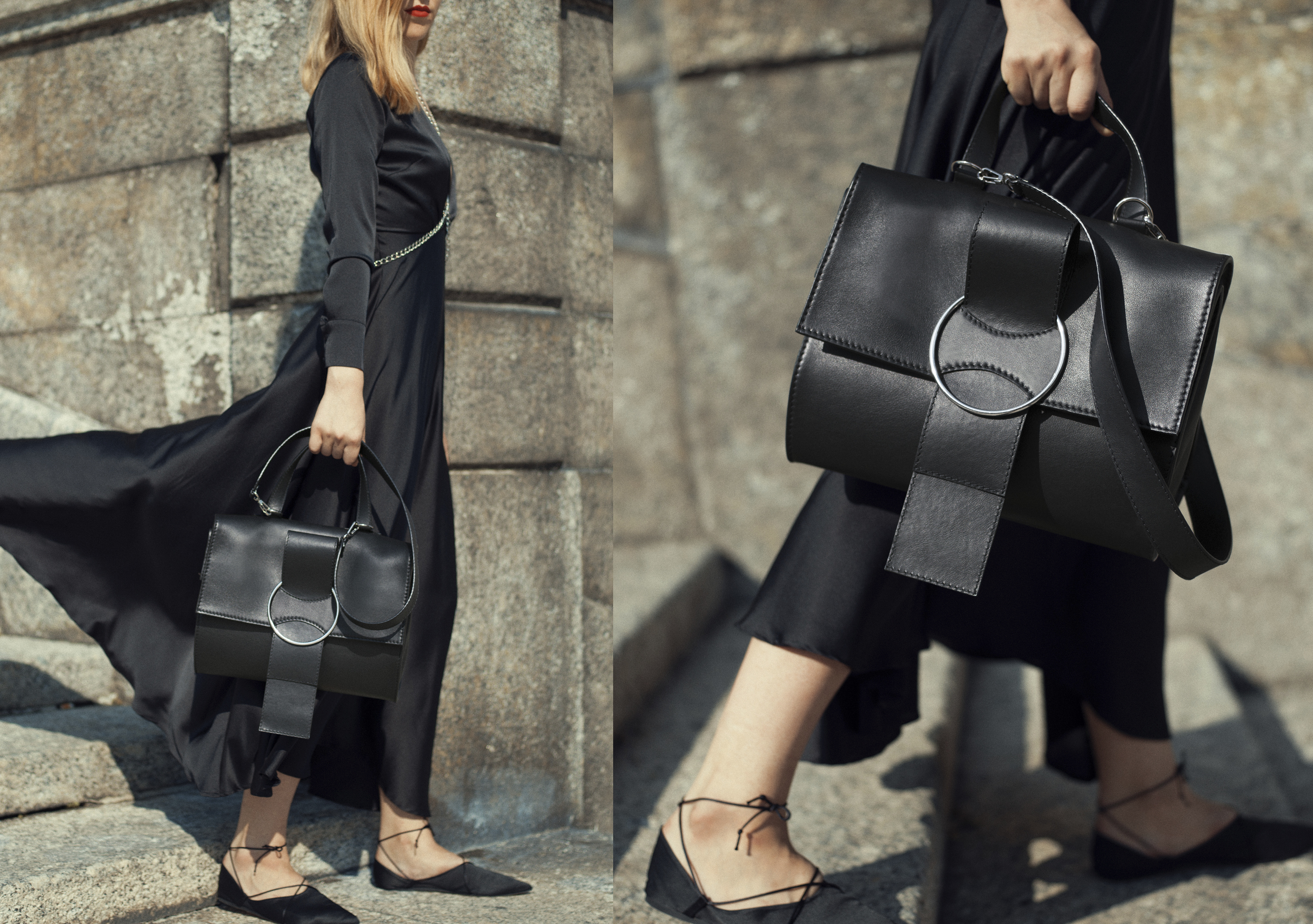 OTTONEmilano, bag, handbag, ss18, Karren,leather,24h,shoulder bag,totebag,shopping, top handle, black,oversize ring,strap,bow,ribbon,women,minimal,modern