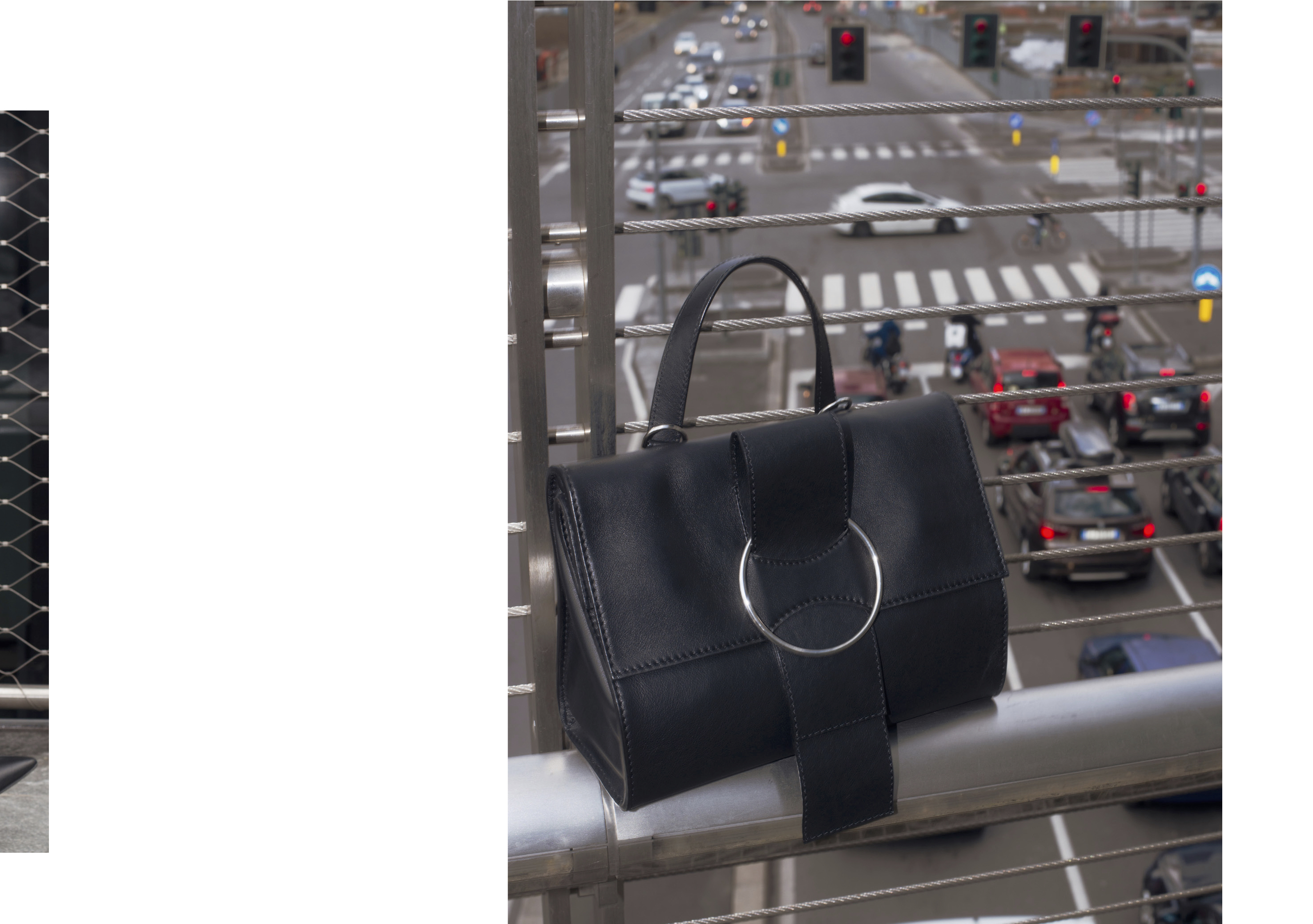 fw collection, ottonemilano handbag, ottonebag, ottonehandbag, ottonemilano bag, minimal handbag, sleek, ribbon strap, shoulder bag,top handle,oversize ring, blackbag, silver ring,tote bag, shopping